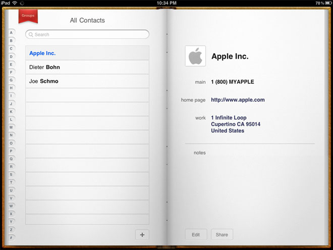Application Contacts sur iPad (avant iOS 7)