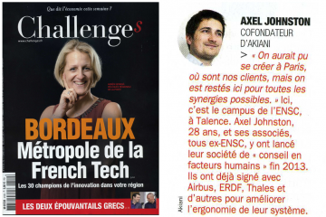 Akiani start-up innovante dans Challenges magasine