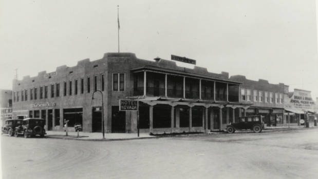 Photograph of the front exterior of the Hotel Nevada (Las Vegas), circa 1910