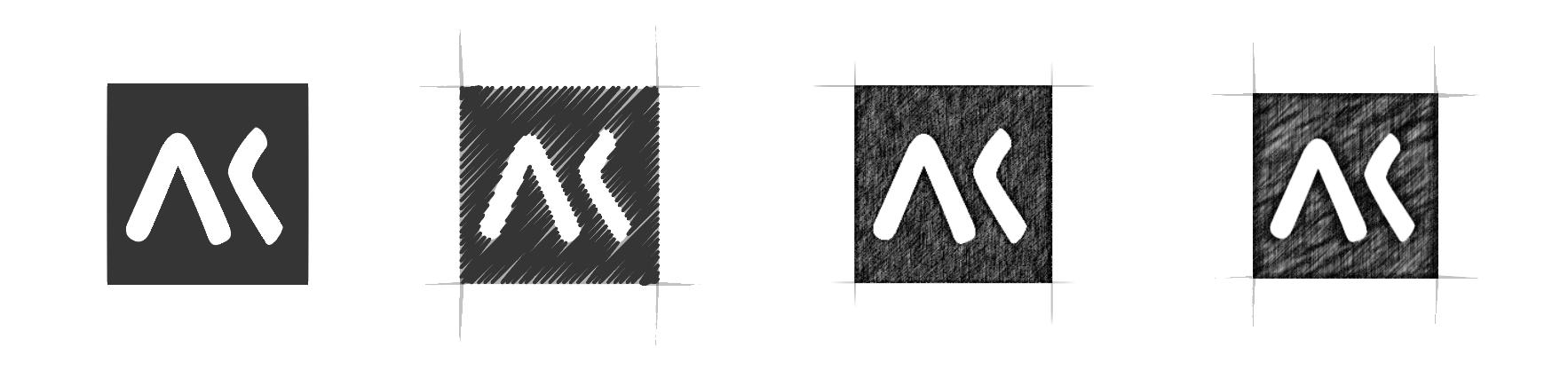 Mise au point de la texture crayonné pour le logo Akiani
