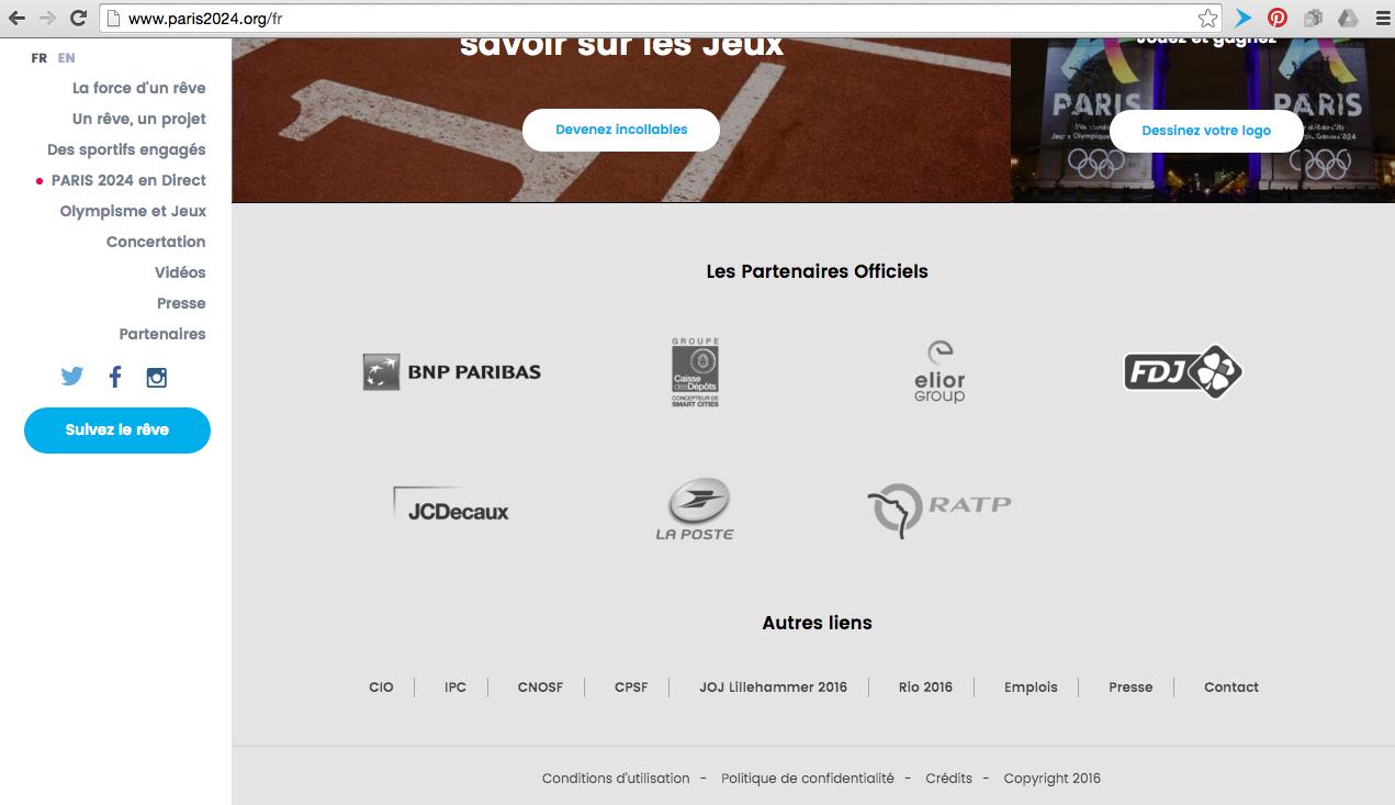 Aperçu des logos affichés en page d'accueil du site Paris 2024 pour les JO