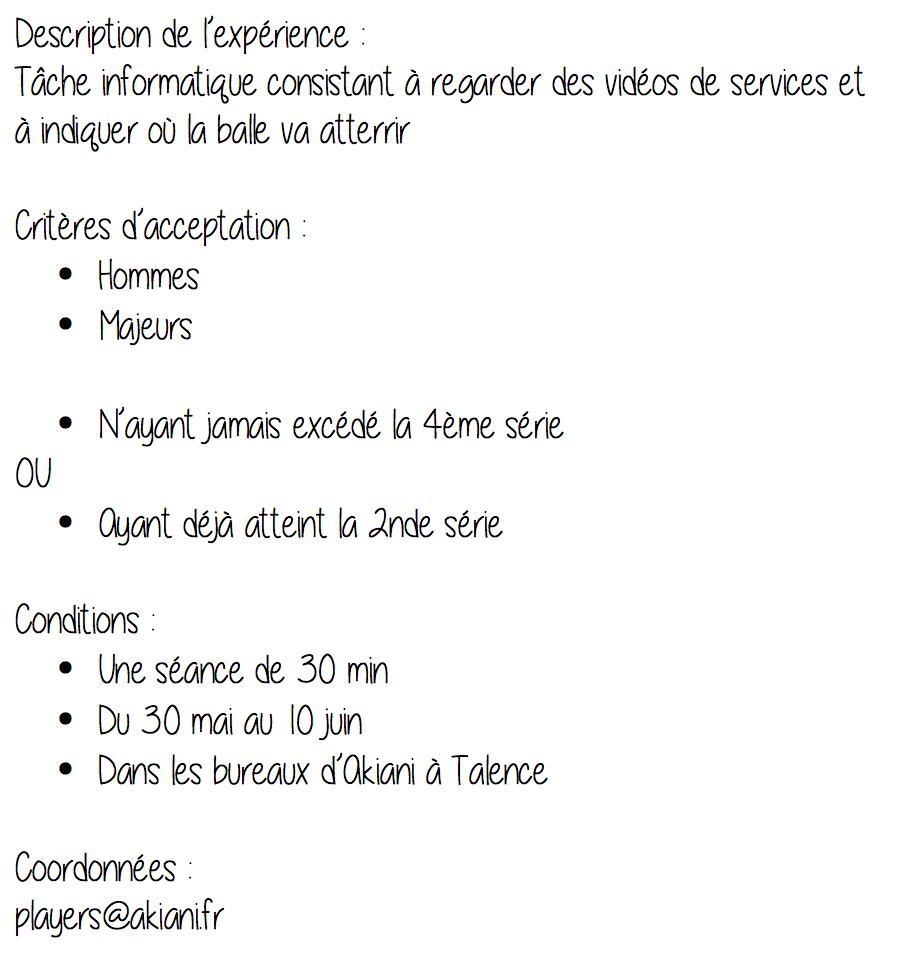 Liste des informations essentielles au recrutement des participants pour notre projet