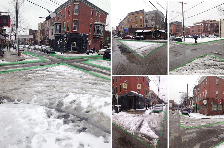 Highlighted sneckdowns of Philadelphia by Jon Geeting of This Old City