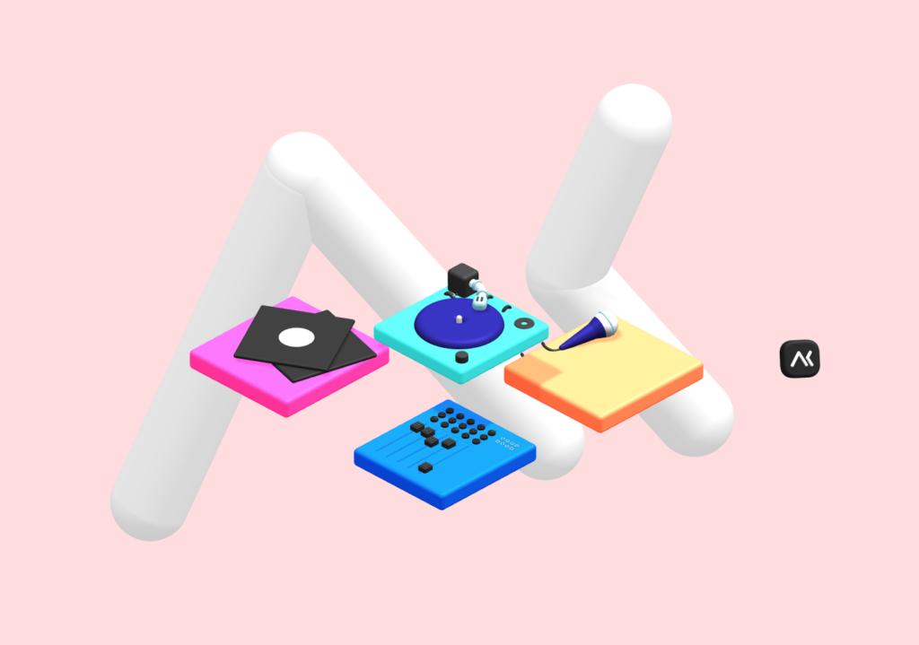 Spline - Logo Akiani avec des platines et des éléments rappelant l'univers musical