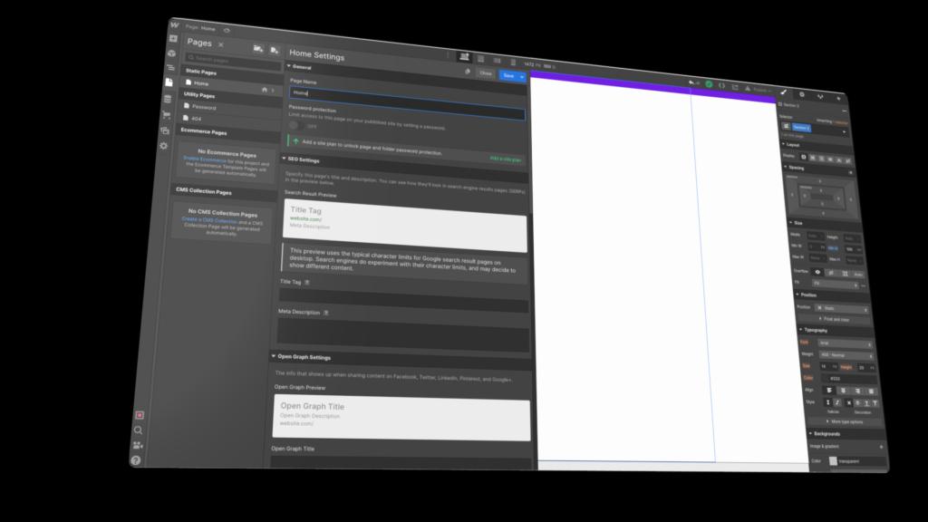 Interface Webflow avec vision sur les paramètres et différents éléments à remplir pour le SEO