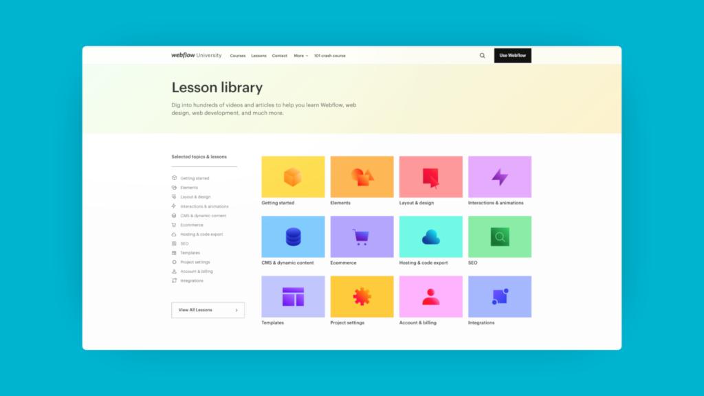 Page des cours Webflow, avec pleins de catégories possibles.