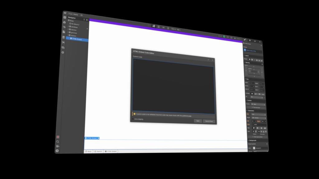Zoom sur la possibilité d'ajouter du code, sur une popin à fond noir.